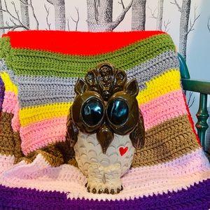 Retro Owl Heart Garden Flower Pot Planter Decor